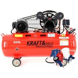 Kompresor Olejowy 200L 2 Tłoki 400V KD407 + Zestaw